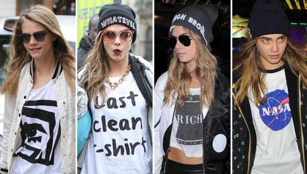Grunge Look von Cara Delevingne: printed T-Shirt und Beanie-Mütze.