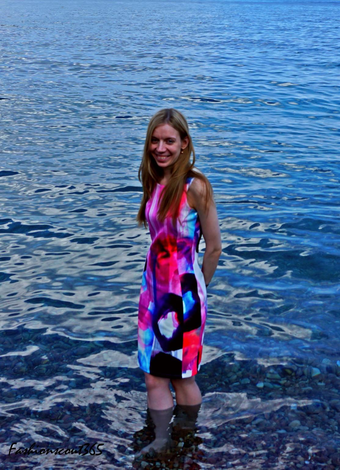 Mein Look im H&M-Kleid mit Print