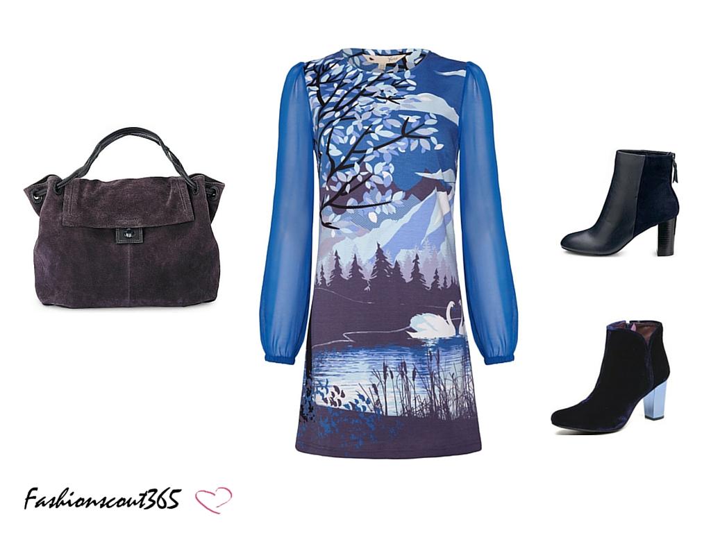 Look im Bohemian Chic Style: Marc-o-Polo-Hobo-Tasche, Yumi-Kleid mit Schwanen-Print und Stiefeletten für Auswahl.