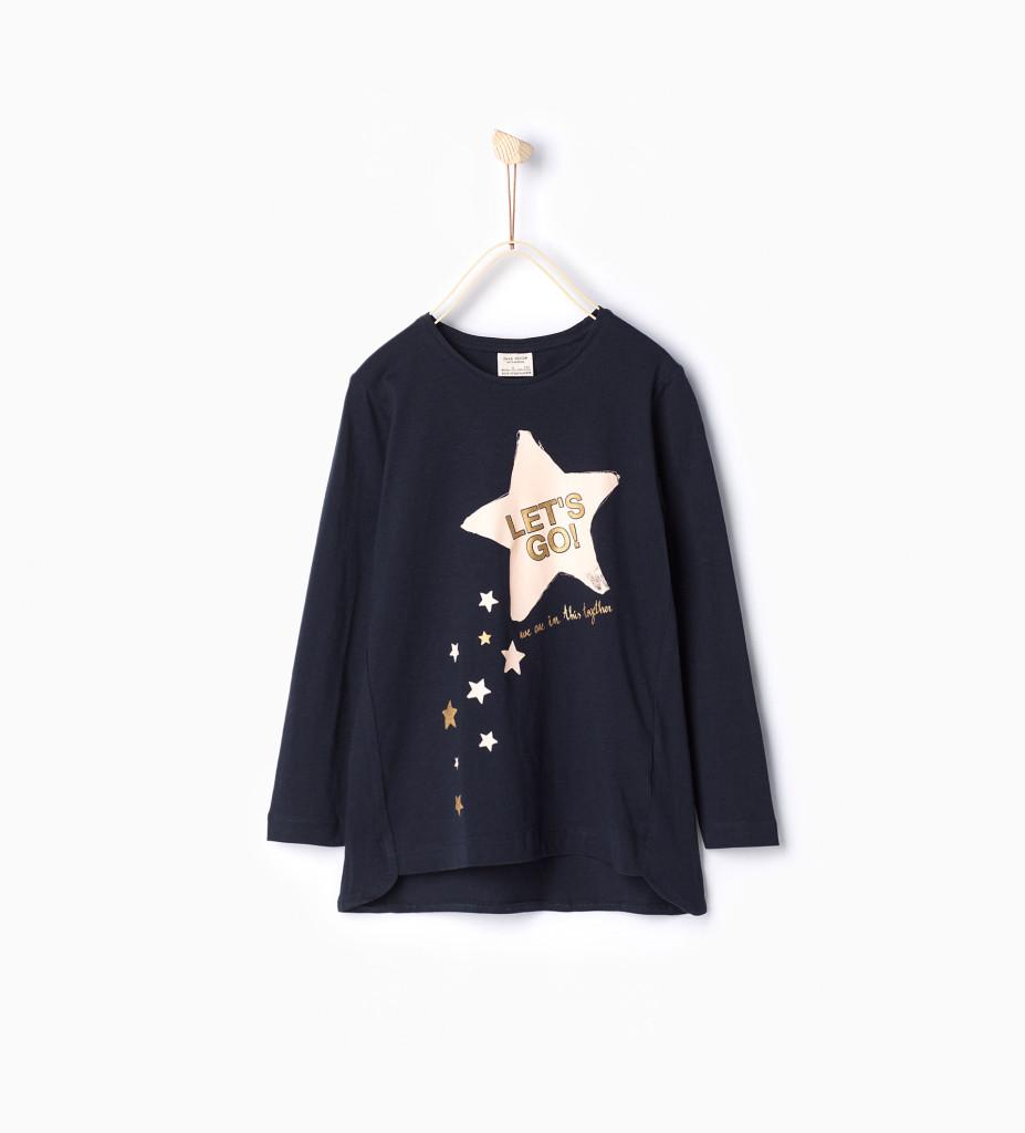 Shirt mit Print, Bio-Baumwolle, Zara, 4 Euro, in vielen Größen verfügbar.