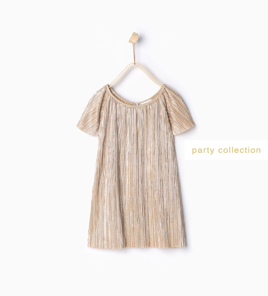 Mädchen-Plissee-Top in Gold, Zara Party edition 2015, 15 Euro.