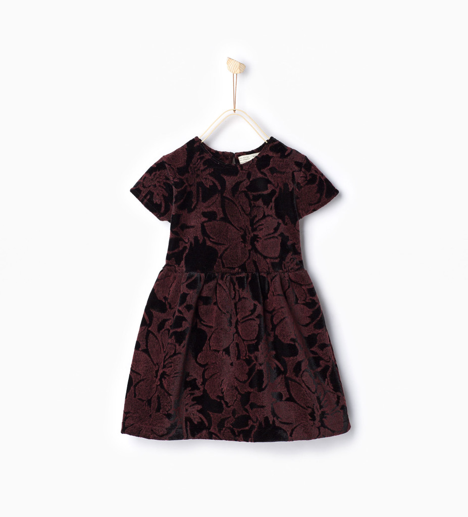 Samt-Kleid mit Print, Zara Party edition 2015.
