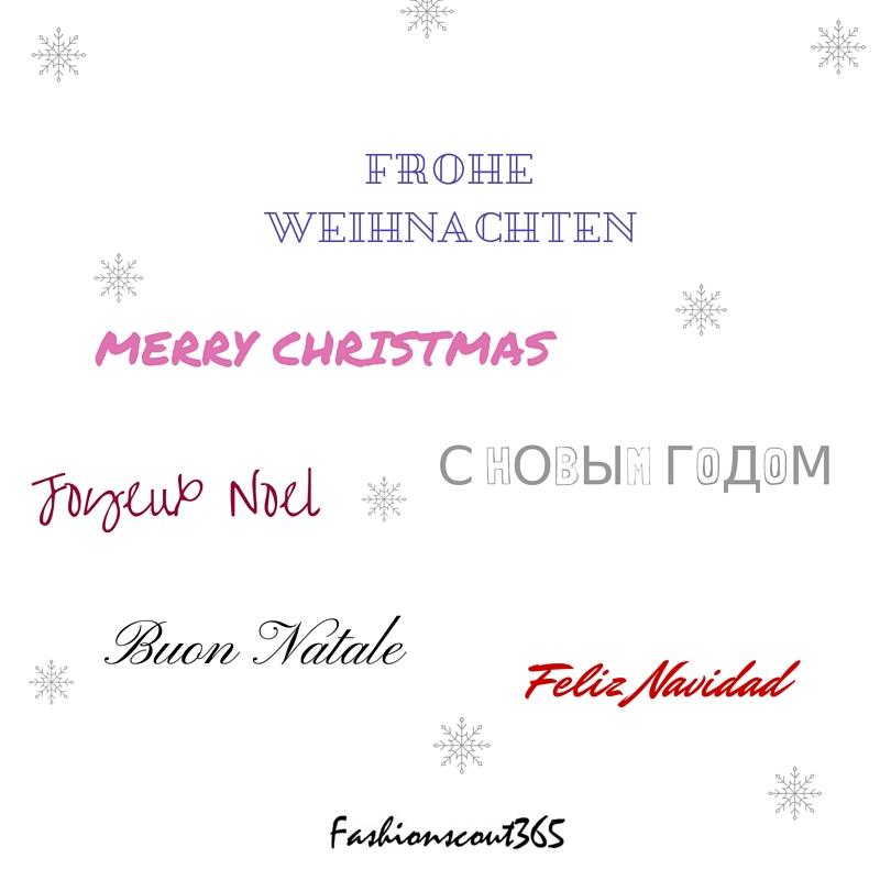 Fashionscout365-Grußkarte zu Weihnachten 2015 in mehreren Sprachen.