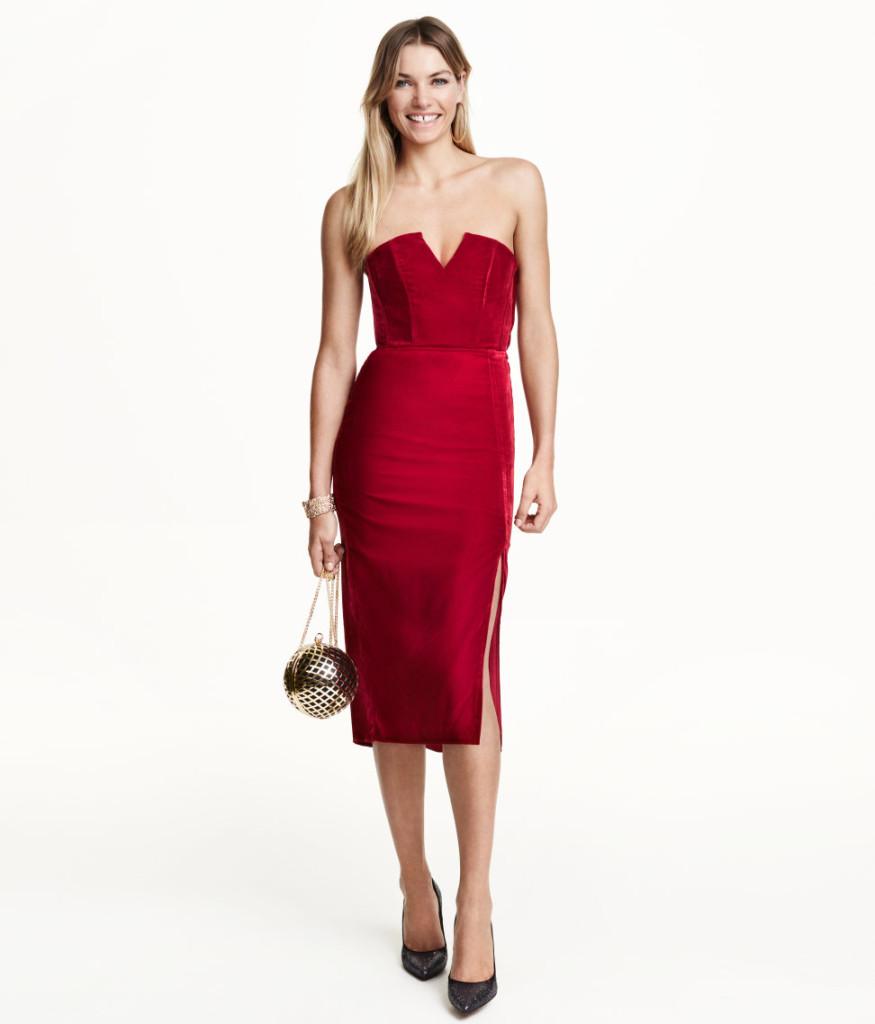 Bandeau-Kleid aus Samt, H&M für den eleganten Silvester-Party-Look 2015.