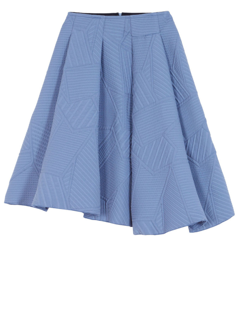 "Flared jacquard skirt ""Pagoda"" in sky blue (also available in black), Max&CO., 123 euros (reduced)."