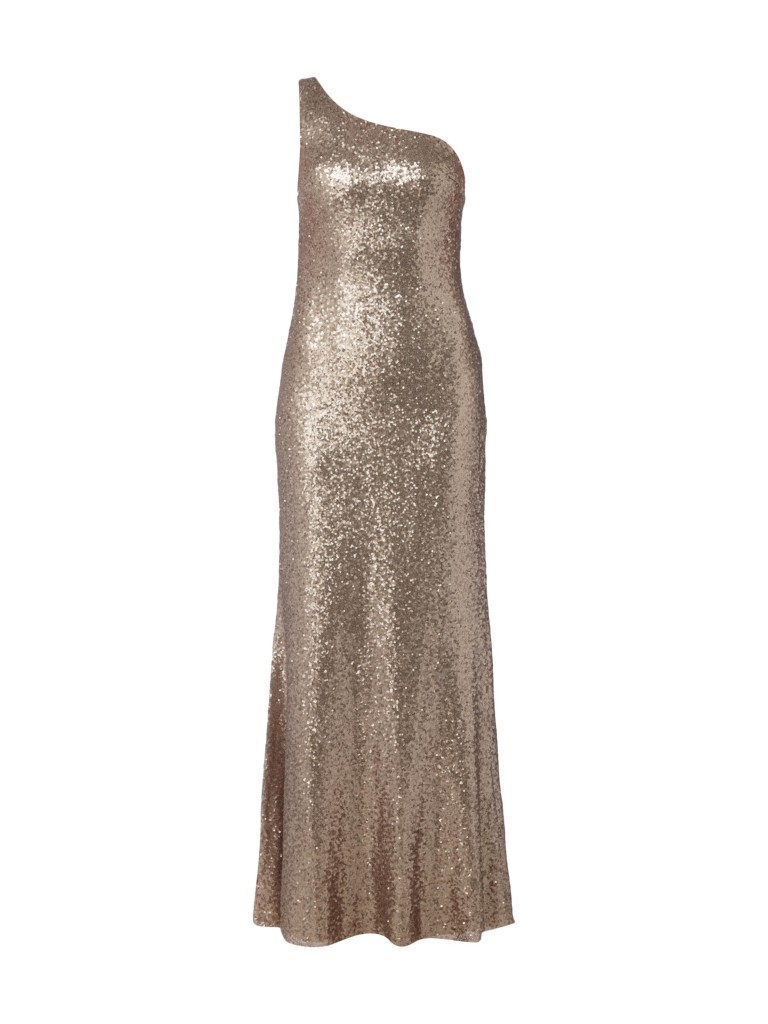 One-Shoulder-Abendkleid mit Pailletten in der Metallic-Optik für den glamurösen Silvester-Auftritt.