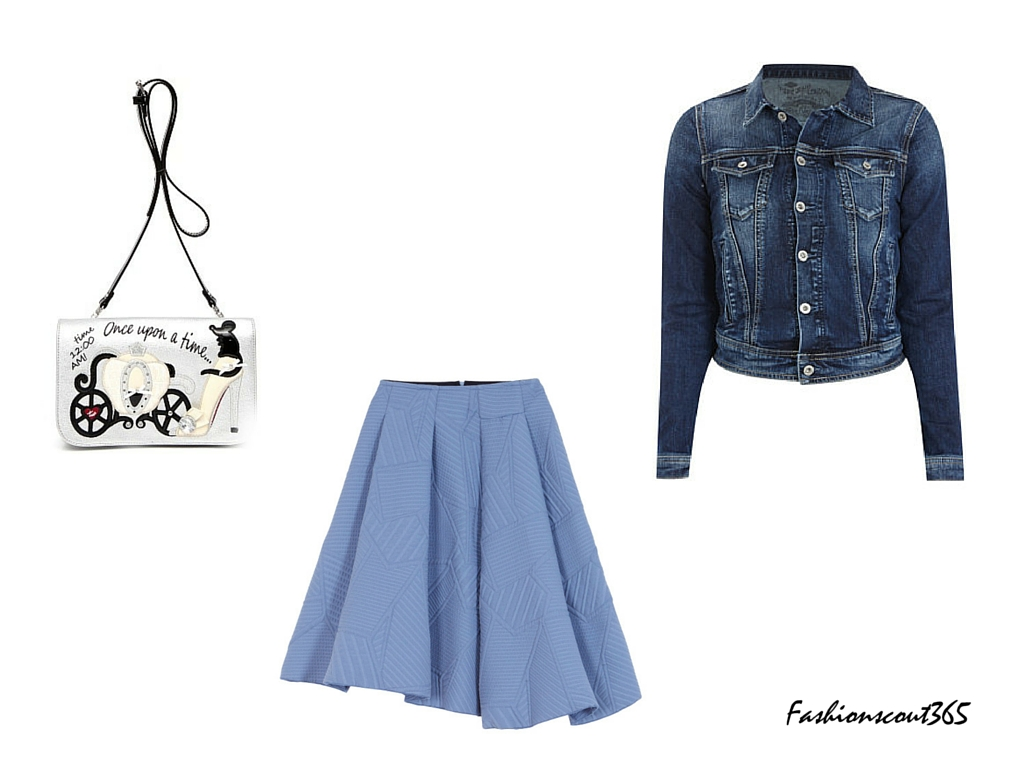"Fancy summer look with the ""Pagoda"" skirt by Max&Co, denim jacket from Closed and bag with Cinderella motiv by Braccialini."