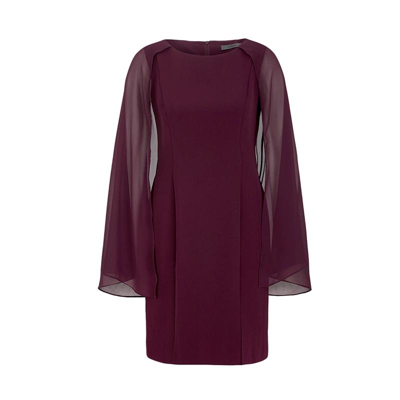 Tailliertes Crepe-Kleid in der modischen Pflaume-Farbe mit Chiffon-Detail, S'Oliver.