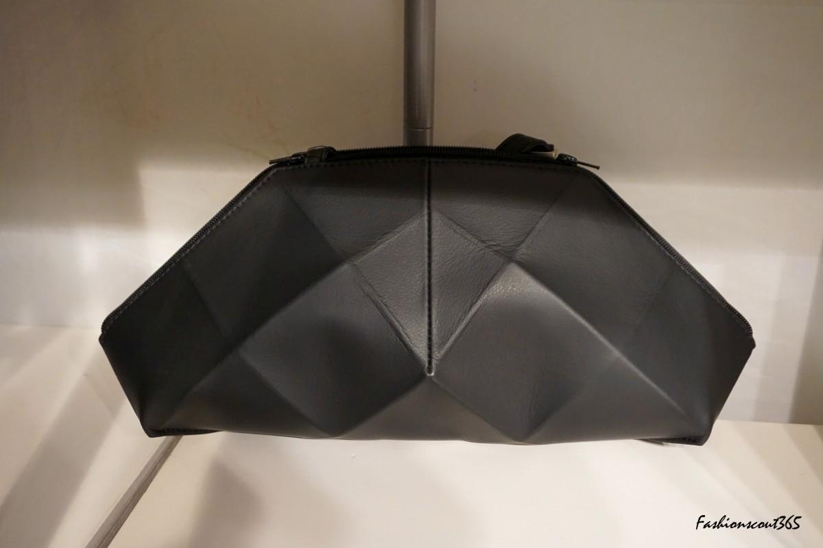 Voluminous clutch bag in futuristic style by Berlin's accessories label Olbrish.
