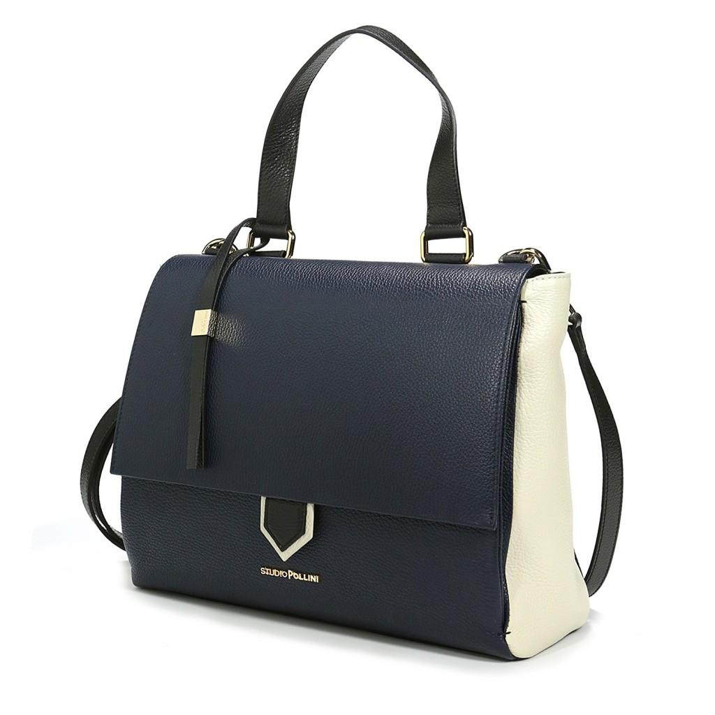 Кожаная сумка в контрастных тонах, Studio Pollini FW15, 204 евро (цена снижена).