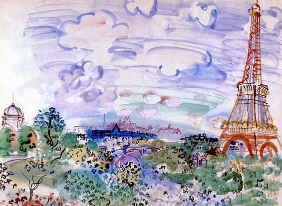 Эйфелева башня и ее окрестности глазами художника Рауля Дафи (Raoul Dufy), акварель.