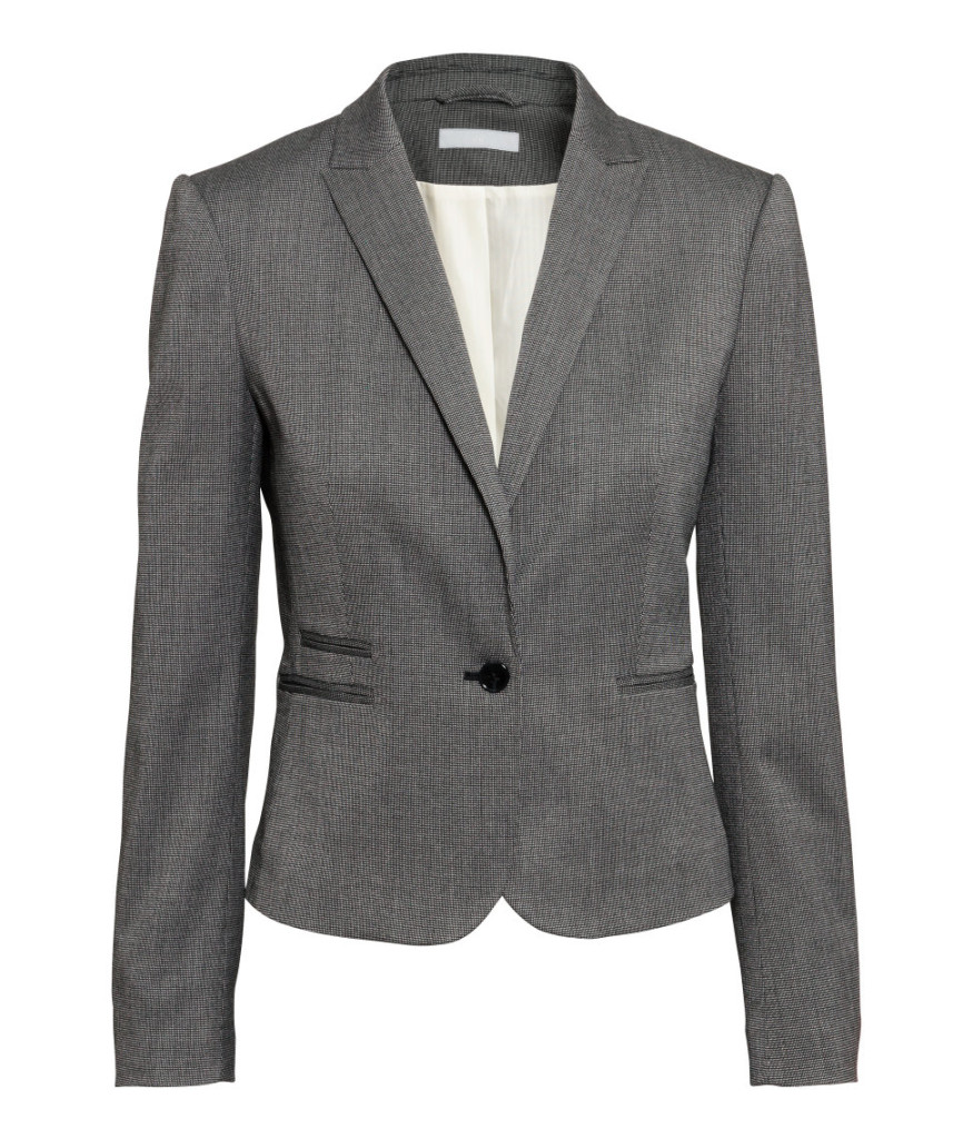 Top-Picks aus H&M Rabattaktion: figurbetonter Blazer in Grau. Office-Garderobe-Basics smart shoppen mit Empfehlungen