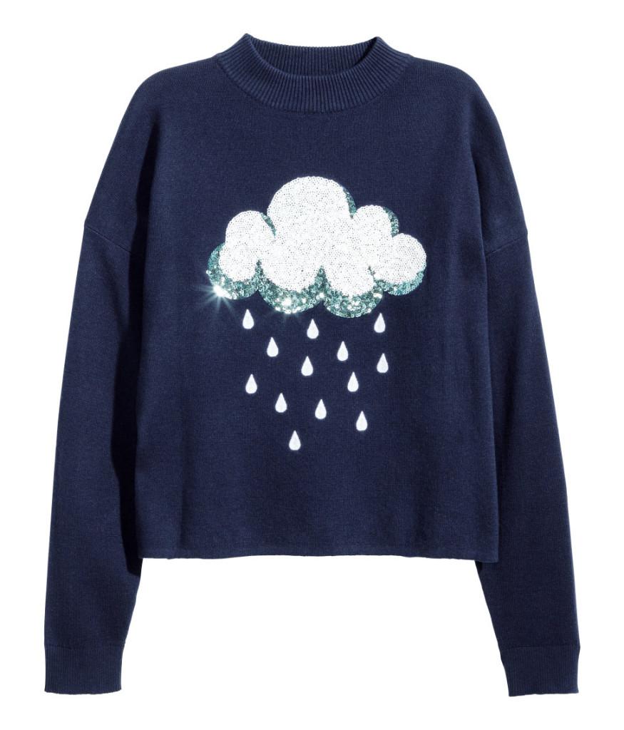 Top Picks aus H&M Sale: Pullover mit Wolke und Regentropfen. Young Fashion günstig und originell