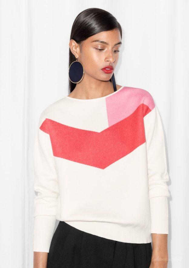 cos-sale-top-angebote-pullover-in-kontrastfarben-rosa-weiss